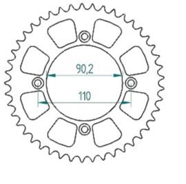 MINO achtertandwiel staal KTM SX 50 2014-2018 & Husqvarna TC 50 2017-2019