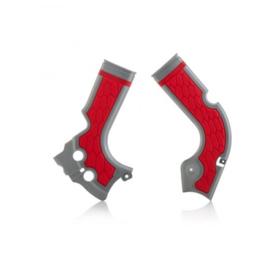 Acerbis X-Grip Framebeschermers + Grip zilver/rood voor de Honda CRF 250R 2014-2017 & CRF 450R 2013-2016