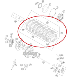 KTM Originele Koppelingsplaten set ( geen veren ) voor de KTM SX-F 450 2013-2018 & SX-F 350 2011-2018 & EXC-F 350/450/500 2018-2019 & Husqvarna FC 350/450 2014-2018 & FE 350/450/501 2018-2019
