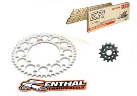 Ketting/Tandwiel kit bestaande uit Renthal moddergroef voor en Renthal achter tandwiel aluminium ketting DID 520 ERT3 goud KTM SX/SX-F/EXC/EXC-F 125-540 1991-2019 & Husqvarna TC/FC/TE/FE 125-501 2014-2019