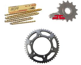 Ketting/Tandwiel kit bestaande uit JT voor JT achter tandwiel ketting DID 420 NZ3 goud voor de KTM SX 60 1998-2001 & SX 65 1998-2018 & Husqvarna TC 65 2017-2019