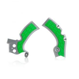 Acerbis X-Grip Framebeschermers + Grip zilver/groen voor de Kawasaki KX 450F 2009-2017