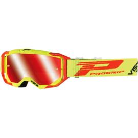 Progrip 3303 Vista crossbril fluor geel met rode spiegellens