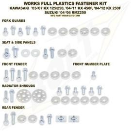 Bolt boutenset voor plastic werk voor de Kawasaki KX 125/250 2004-2008 & KX 250F 2004-2012 & KX 450F 2006-2011 & Suzuki RMZ 250 2004-2006