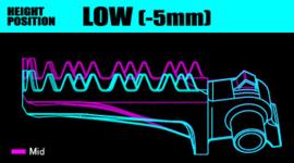 DRC voetsteunen 5mm verlaagd zwart voor de KTM SX/SX-F 125-450 2016-2021 & EXC/EXC-F 125-500 2017-2021