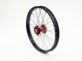 REX Wheels 21-1.60 compleet voorwiel zwarte velg met rode naaf 20MM Honda CR 125R/250R 1995-2007 & CRF 250R 2005-2018 & CRF 450R 2002-2018 & CRF 450RX 2017-2018