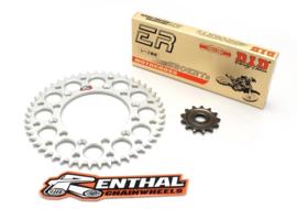 Ketting/Tandwiel kit bestaande uit Renthal voor en Renthal achter tandwiel aluminium ketting DID 520 ERT3 goud