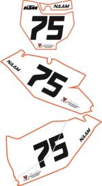 Stickerset 3 delen ( MX set met standaard design ) voor alle merken en modellen