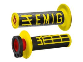 ODI V2 Emig Half-Waffle lock-on handvaten geel/zwart voor de 2 & 4 takten