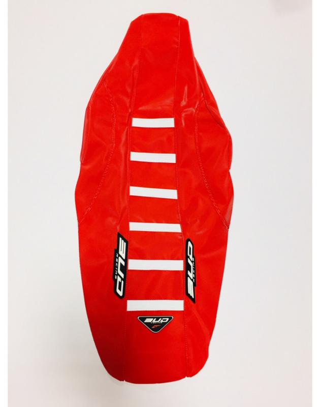 BUD Zadelovertrek rood / rood met witte strepen voor de Honda CRF 250R 2018-2019 & CRF 450R 2017-2019