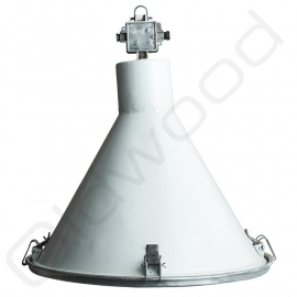 Industrial white lamp with glass plate