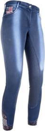 HKM Rijbroek -USA- denim jeansblauw Maat 80 (40) lange lengte