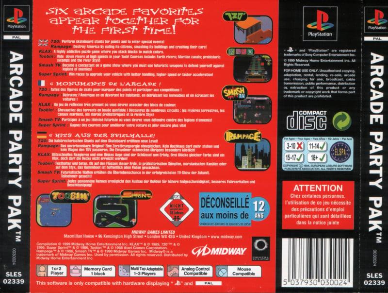 Arcade Party Pak Classics zonder boekje (ps1 tweedehands game)