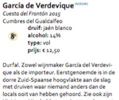 Garcia de Verdevique Cuesta del Fronton Jaen Blanco (€ 13,50)