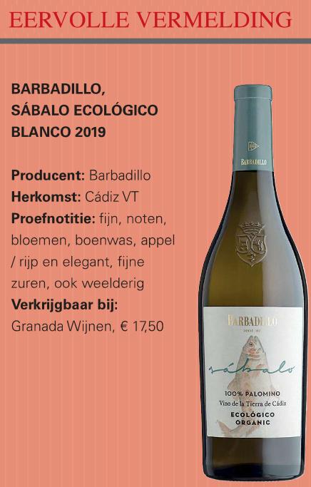 Barbadillo Sábalo Organic Palomino (€ 17,50)