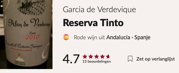 Garcia de Verdevique  Altos de Verdevique Gran Reserva (€ 41,95)