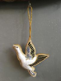 Geborduurde duif van vilt ( wit ) met goud 🕊