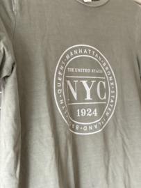 Lindegroen shirt met opdruk en korte mouwen