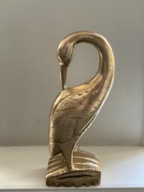"""Houten vogel met gebogen nek """" gold"""""""