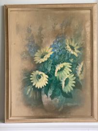 Lijst met zonnebloemen  vintage