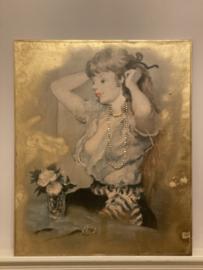 Originele Vrouw afbeelding op houten plaat