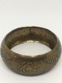 Brede metalen bronskleur armband