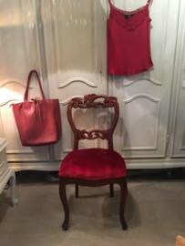 Queen Ann stoel mahonie met rode fluwelen zitting