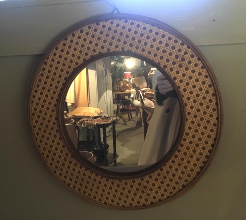 Rotan ronde spiegel 40 cm