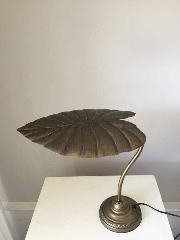 Tafellamp metaal brons\messing kleur met palmblad