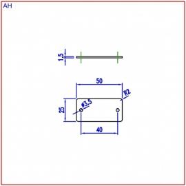 Nummerplaat 50x25 Aluminium/Zwart, blanco (webart023)