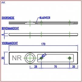 Naamplaathouder 170x30 zilvergrijs, nummer links (webart044)