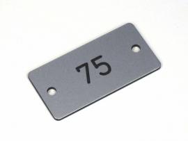 Nummerplaat 50x25 Aluminium/Zwart, gegraveerd (webart024)