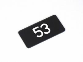Nummerplaat 40x20 Zwart/Wit, gegraveerd (webart171)