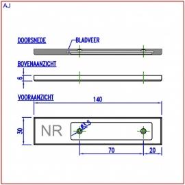 Naamplaathouder 140x30 steenbeige, nummer rechts (webart033)