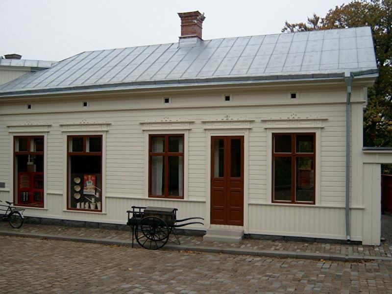 Rijtjeshuizen in kleine Zweedse stad