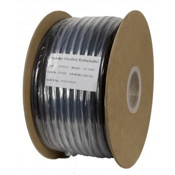 Soepele zwarte neopreen rubberkabel 4 x 1,5 mm2  50 meter