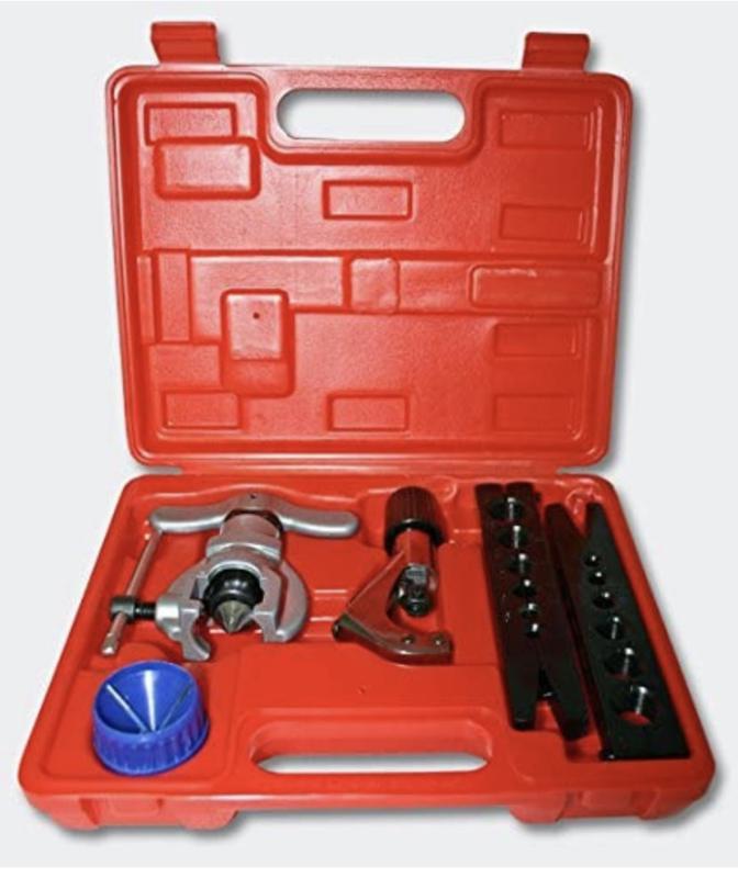 Flareset   flaremaker   Flareblok met uitbramer en pijpensnijder in koffer