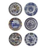 Set 6 onderzetters Delfts blauwe borden (1620-1750)