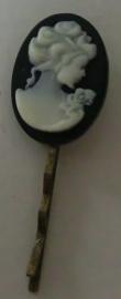 Fluistertuin Original haarspeld Camee wit op zwart