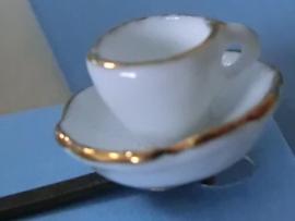 Fluistertuin Original haarspeld Kop & schotel wit met gouden randje