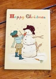 Belle & Boo Snowman kerstkaart, dubbel met enveloppe.