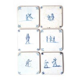 Set 6 onderzetters Delfts blauwe tegeltjes (1620-1750) Kinderspelen