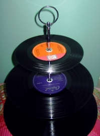 Fluistertuin Original Etagère Vintage LP`s handgreep rond
