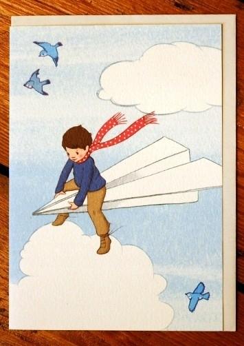 My paperplane. Dubbele kaart met enveloppe