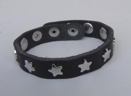 Armband sterren - zwart, zilver
