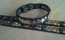 Leren studsarmband - zwart