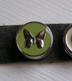 133 Clickbutton Vlinder - groen