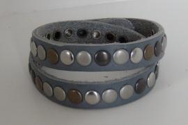 Wikkelarmband Studs -  grijs