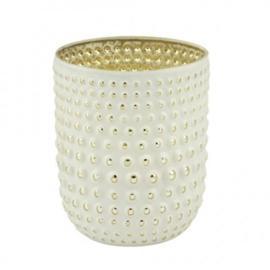 Waxinelichthouder Dots - wit/zilver