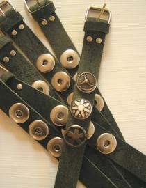 Leren clickbutton armband - groen